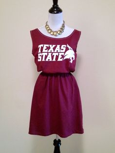 Texas State Bobcats Game Day T Shirt Tee Dress. $30.00, via Etsy.