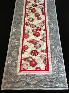 39 Long Silver and Red Christmas Runner Silver