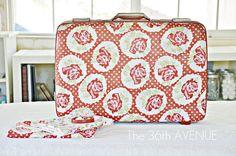 The 36th AVENUE   Mod Podged Fabric Suitcase!   The 36th AVENUE