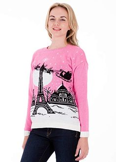 British Christmas Jumpers Christmas in Paris - Womens Christmas Sweater ** Details can be found by clicking on the image. (This is an affiliate link) Girls Christmas Jumpers, Couples Christmas Sweaters, Couple Christmas, Womens Christmas Jumper, Cute Christmas Sweater, Christmas In Paris, Girls Jumpers, Ugly Sweater, Pulls