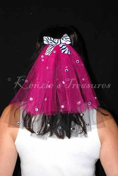 Hot Pink and Black Zebra Bow And Rhinestone 2-Tier Bachelorette Party Veil. $16.00, via Etsy.