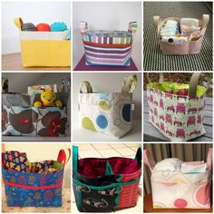 Lots of fabric combinations to inspire! Noodlehead: divided basket pattern testers and your baskets!