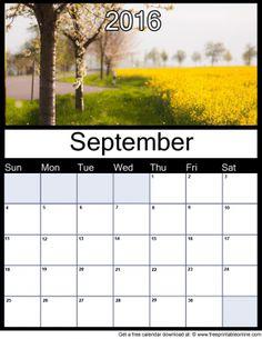 September 2016 Printable Monthly Calendar