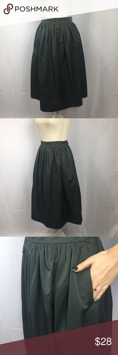 "Zara Full Tea Length Grey Skirt w/ Pockets! Lovely dark grey cotton skirt with a slight sheen. Has large pockets on the sides with a side zipper, measures 28"" from top to hem, super adorable and only worn once because it's too big for me. Zara Skirts Midi"