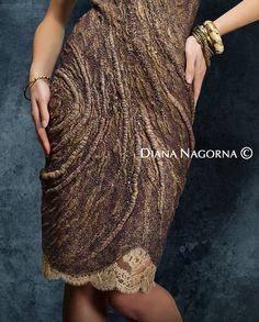 Light bronze felted dress  Nuno-felt dress Elegant by DianaNagorna