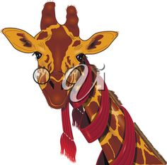 iCLIPART - Clip Art Illustration of a Giraffe Wearing a Scarf