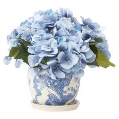 Bring a touch of natural style to your decor with this lovely faux hydrangea arrangement, showcasing vibrant blossoms nestled in a classic ceramic pot.
