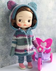 Knit Crochet, Crochet Hats, Kawaii Doll, Polymer Clay Dolls, Other Outfits, Bjd, Doll Clothes, Crochet Patterns, Knitting