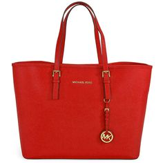 Michael Kors Saffiano Leather Medium Travel Tote - Chili ($177) ❤ liked on Polyvore featuring bags, handbags, tote bags, purses, travel tote, red hand bags, michael kors handbags, hand bags and shoulder strap handbags