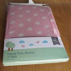 Pram Cot Crib Fleece Blanket Pink Girls 2 Pack Polka Dot New