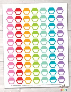 Hexagon Half Boxes Printable Planner Stickers – Erin Bradley/Ink Obsession Designs