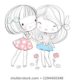 Find Beautiful Cute Girls Friends Vector Illustration stock images in HD and millions of other royalty-free stock photos, illustrations and vectors in the Shutterstock collection. Thousands of new, high-quality pictures added every day. Cute Girl Illustration, Illustration Mignonne, Friends Illustration, Cute Drawings, Doodle Art, Cartoon Characters, Cute Kids, Art For Kids, Digital Scrapbooking