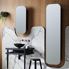 Storage doesn't have to be exclusive to vanity units. Make the most of your mirror choice by selecting a mirror cabinet and tall boy. Recessed options are great for a sleek and integrated look like this ISSY Butterfly mirrors by @zusterfurniture.
