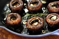 Roasted baby portabella mushrooms