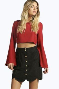 Boutique Tulip Suedette Scallop Edge Mini Skirt at boohoo.com