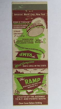 The Ramp - Bar Grill Newark, New Jersey Restaurant 20 Strike Matchbook Cover Map