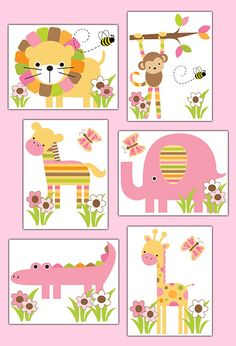 SAFARI ANIMAL DECAL or Wall Art Prints Girl by decampstudios