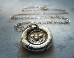 Bee Wax Seal Necklace. Recycled Fine Silver Victorian Pendant. Artisan Jewelry on Etsy, $65.00