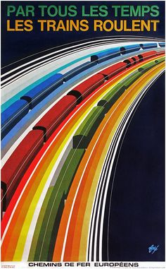 Philippe Foré's poster promoting freight trains on the railways of Europe, Zug Illustration, Graphic Design Illustration, Train Posters, Railway Posters, Train Map, Train Travel, Centre De Documentation, Poster Art, Trains