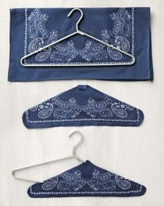 How-To Bandanna Hangers Bandanna Hangers Wire Hanger Crafts, Wire Hangers, Diy Clothes Hangers, Small Sewing Projects, Sewing Hacks, Fabric Crafts, Sewing Crafts, Bandana Crafts, Padded Hangers