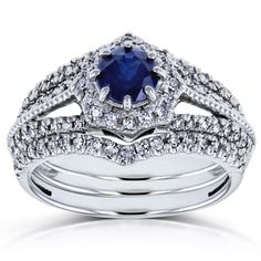Annello by Kobelli 14k White Gold Sapphire and 3/5ct TDW Diamond Star Halo 3-Ring Bridal Set (H-I, I1-I2) (Size 11), Women's, Blue (chevron)