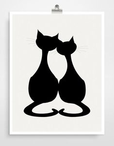 "Black silhouette of ""Love Cats"".                                                                                                                                                                                 Más:"