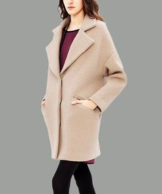 Look what I found on #zulily! Apricot Pocket Wool-Blend Coat - Plus Too #zulilyfinds