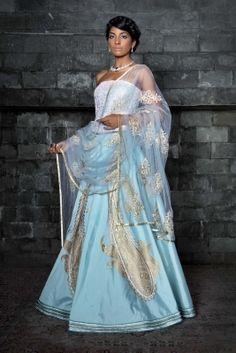 Siddartha Tytler - Indian Fashion Designer - Designer Lehenga with Gota Work Indian Wedding Outfits, Indian Outfits, Indian Clothes, Desi Clothes, Casual Clothes, Red Wedding, Wedding Attire, Wedding Dresses, Wedding Hair