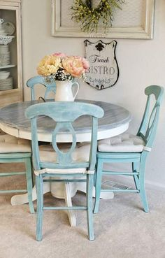 Funny serviced shabby chic dining room table Forward to a friend Painted Kitchen Tables, Kitchen Table Chairs, Kitchen Table Makeover, Painted Tables, White Kitchen Tables, Painting Kitchen Chairs, Duck Egg Blue Kitchen Chairs, Room Chairs, 4 Chair Dining Table