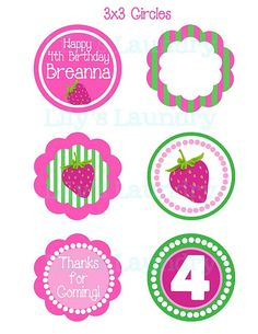 Strawberry Shortcake Party Circles #http://www.etsy.com/listing/70247641/bubble-gum-treat-bags