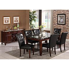 Radian Real Marble 7-piece Dining Set with Black Chairs 1125.99