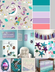 Baby Girl Bannon Nursery Inspiration - Mermaid, Nautical theme - Teal, Purple, Grey, White, Coral