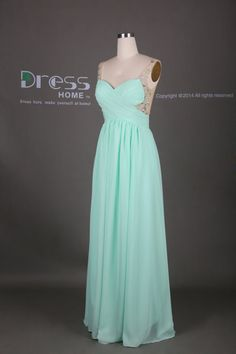 Mint Green Sweetheart Beading A Line Long Prom by DressHome