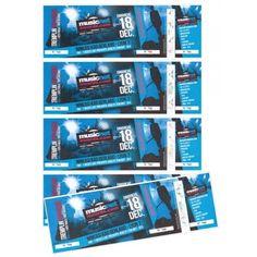Billets sécurisés 3 souches Accéder à des billets professionnels et sécurisés par hologramme anti-fraude Impression recto ou recto/verso pour présenter des partenaires ou des informations Applications possibles : Billets spectacles, bons de réduction, cartes d'adhérents, offres promotionnelles, chèque cadeau etc 21 x 7,425 cm, en planche A4 de 4 billets Quadri recto ou quadri R°V° sur 120 g Triple numérotation chronologique (ex : 0001) 2 verticales sur la planche A4 Repiquage : Possible… Concert Festival, Books, Packaging, Timeline, Impressionism, Cards, Libros, Book, Wrapping
