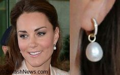 Duchess wears her Kiki diamond loops with another brand pearl drop (this is before Kiki introduced her own Pearl drops)
