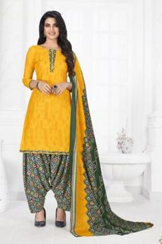 Patiyala Dress, Daily Wear, Printed Cotton, Harem Pants, Suits, Yellow, How To Wear, Collection, Dresses