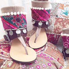 Tribal pink layer by Layer boots. Boho sandals