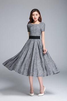grey dress linen dress fit and flare dress pleated dress