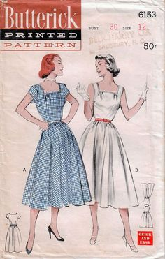 1950s Butterick 6153 Vintage Sewing Pattern Misses Sundress 305d14e3352b