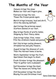 [ Month Year Preschool Songs Lyrics Poem ] - Best Free Home Design Idea & Inspiration Preschool Poems, Kindergarten Songs, Kids Poems, Preschool Music, Preschool Learning, Preschool Activities, Number Songs Preschool, English Poems For Children, Seasons Kindergarten