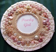 Pearls and Pink Seashell  Picture Frame Round Vintage Jewelry. $65.00, via Etsy.
