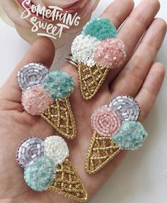 Credit to And I have an ice cream boom! Bead Embroidery Jewelry, Fabric Jewelry, Beaded Embroidery, Embroidery Stitches, Embroidery Patterns, Hand Embroidery, Beaded Jewelry, Beaded Brooch, Crochet Earrings