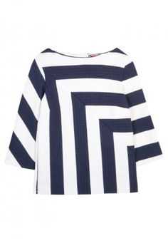 Shirt - white and navy,