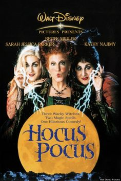 Hocus Pocus on DVD from Disney / Buena Vista. Directed by Kenny Ortega. Staring Bette Midler, Sarah Jessica Parker, Kathy Najimy and Vinessa Shaw. More Comedy, Fantasy and Witches DVDs available @ DVD Empire. Película Hocus Pocus, Hocus Pocus 1993, Hocus Pocus Movie, Hocus Pocus Witches, Disney Halloween, Best Halloween Movies, Halloween Horror, Disney Movies, Movie Posters