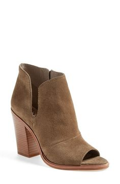 Free shipping and returns on Vince Camuto 'Katleen' Peep Toe Bootie (Women) (Nordstrom Exclusive) at Nordstrom.com. A chunky stacked heel adds height and subtle Southwestern style to a peep-toe bootie cut from supple leather. A curved slit at the ankle shows off a little extra skin, to leg-lengthening effect.