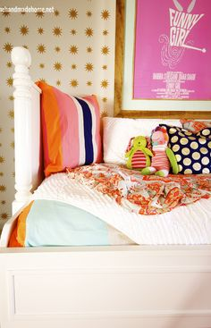 big girl room redo. Love the pink, orange and navy
