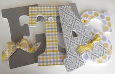 Custom Wooden Letters  YELLOW & GRAY Theme Nursery by LetterLuxe, $25.00