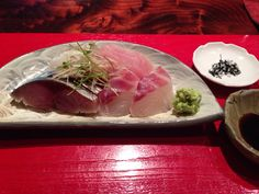 Sashimi with seaweed salt and soy source