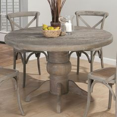 gray oak stained dining table   Jofran Burnt Grey Round Pedestal Dining Table in Solid Oak - 856-48-DT ...