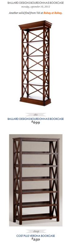 COPY CAT CHIC FIND: Ballard Designs Bourdonnais Bookcase VS Cost Plus Verona Bookcase